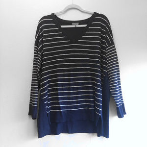 Vince Camuto Striped V Neck 2X Sweater